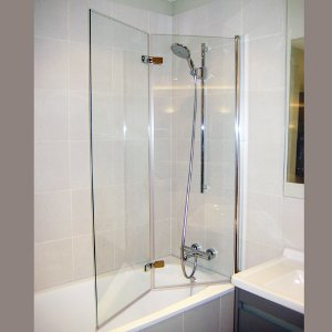 Over bath glass shower panel installation